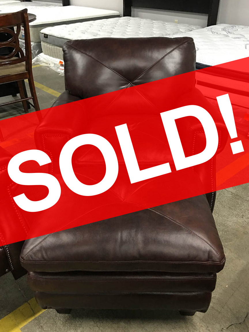 Kendall Leather Chair Ottoman SOLD